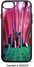 SCOCICI Non-Slip Drop Protection Smart Cell Phone Case Stack of Gambling Chips Success Wealth Winner Lucky Betting Decorative Compatible with iPhone 8 Plus