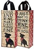 Nylon beidseitig Hund Thema Wein Tasche–Drink Wine, PET My Dog–One Tote