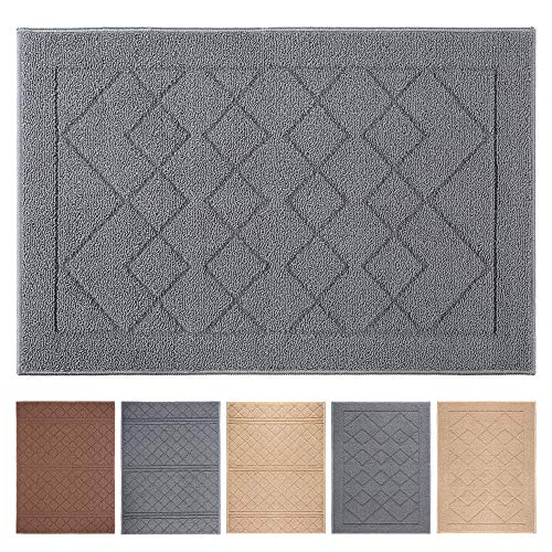 Indoor Doormat 24'x 36' Absorbent Front Door Mat Rubber Backing Non Slip Door Mats Inside Dirt Trapper Mats Entrance Front Door Rug Shoes Mat Machine Washable Carpet (Grey Large Squares)
