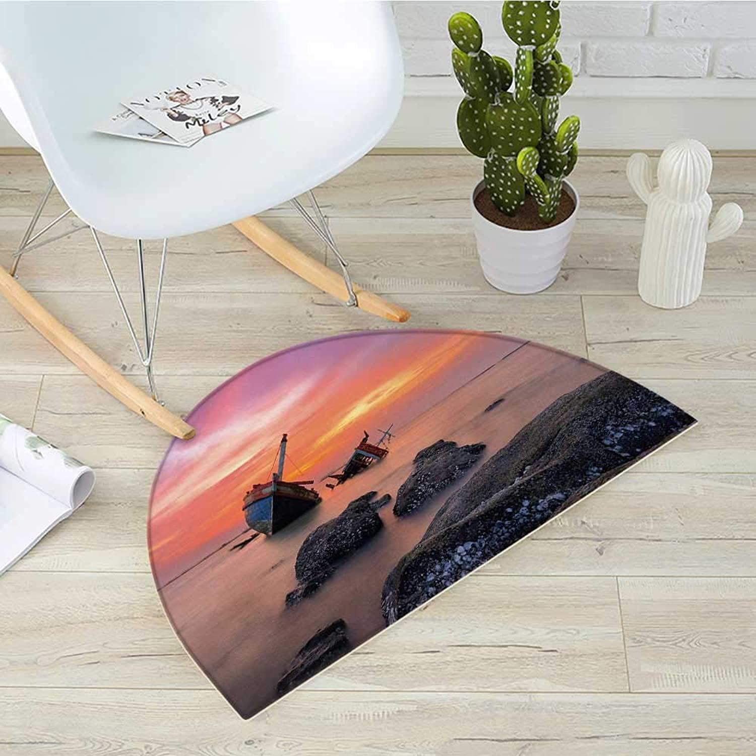 Shipwreck Semicircular CushionSunken Aground Boat Vessel in Foggy Water Before Exquisite Sky at Sunset Image Entry Door Mat H 39.3  xD 59  orange Grey