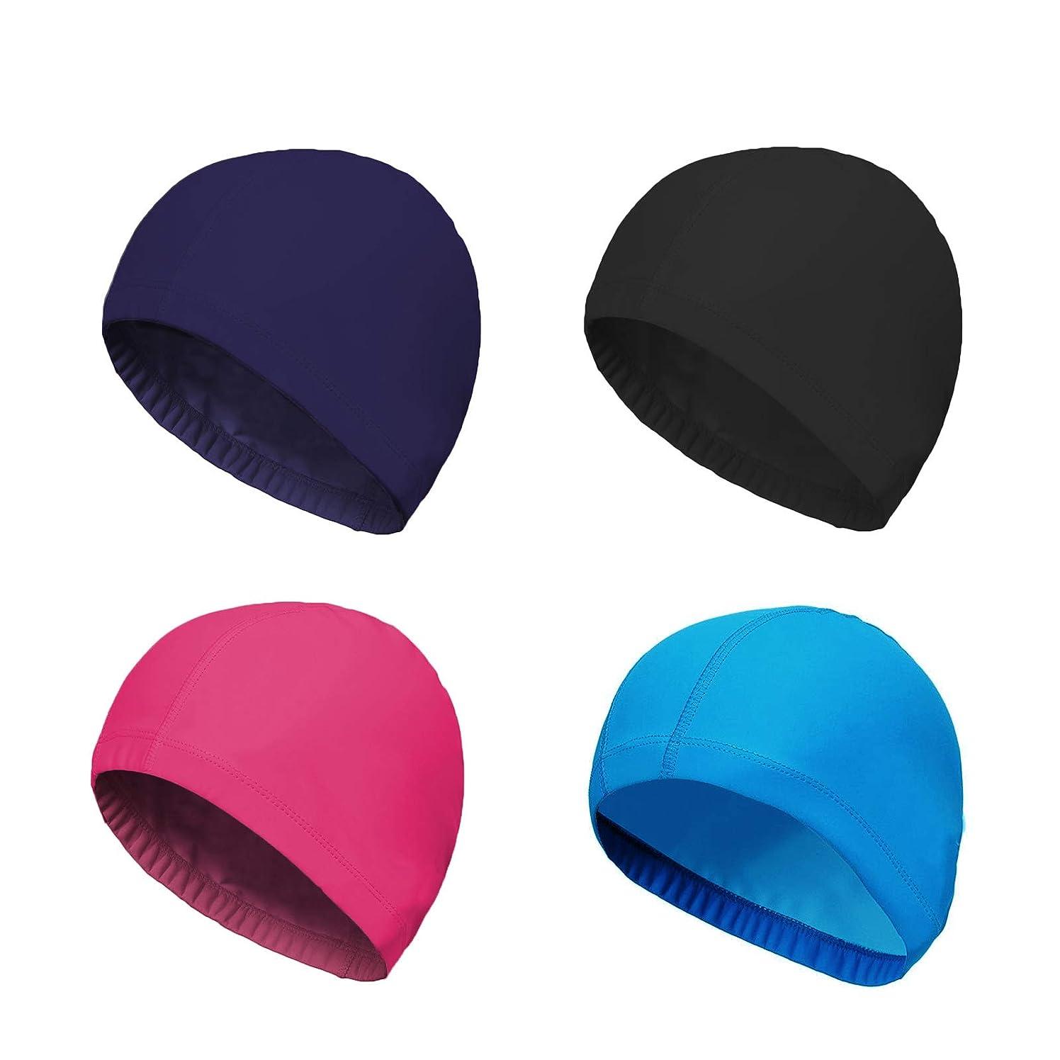 SunTrade 4-Pack Man Women Pure Color Nylon Spandex Fabric Swim Cap Swimming Cap Bathing Cap