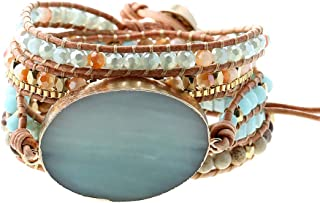 Plumiss Handmade Leather Wrap Natural Amazonite Druzy Bead Crystal Stone Bracelets for Women