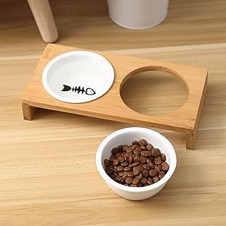 UEETEK ペットボウル 食器 犬猫用 餌入れ 陶磁器 竹製スタンド 取り外し可能 両用 ペット用フードボウル ペット用品
