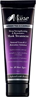 THE MANE CHOICE Green Tea & Carrot Deep Strengthening & Restorative Mask Treatment(8 Ounces / 230 Milliliters) - Hair Mask Infused With Vitamins, Nutrients & Biotin for Stronger Hair