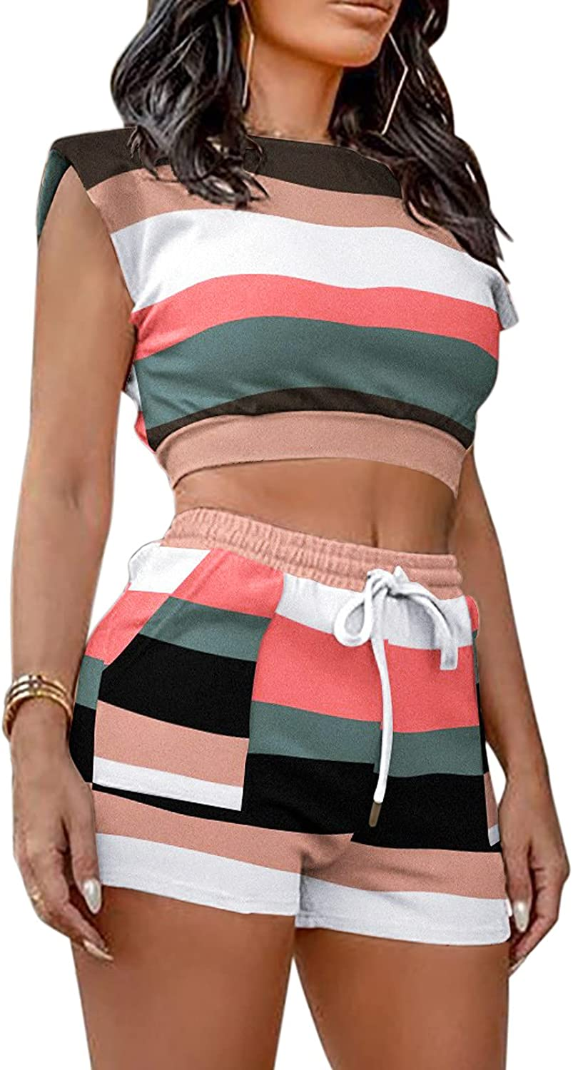 Women Sets 2 Piece Outfits Causal Camouflage Stripes Crop Vest and Drawstring Shorts Suit with Pockets
