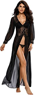 Women's Sexy Sheer Lace Long Robe Lingerie Underwear Sleepwear Gowns with Thong