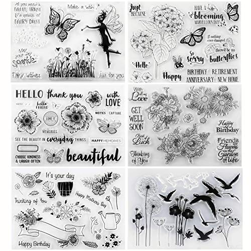 Tikkii 6-Pack Different Style Clear Stamps for Card Making and Scrapbooking