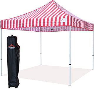 UNIQUECANOPY 10'x10' Ez Pop Up Canopy Tent Commercial Instant Shelter, with Heavy Duty Roller Bag, 10x10 FT Red White Strip