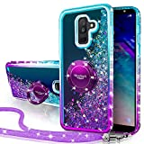 Silverback Galaxy A6 Plus 2018 Case, Moving Liquid Holographic Sparkle Glitter Case with Kickstand, Bling Diamond Bumper Slim Protective Samsung Galaxy A6 Plus 2018 Case for Girls Women -Purple