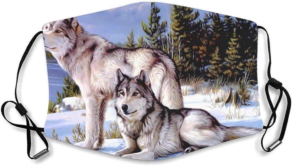 AYGoUP Gesichtsschutz Mundschutz Wolf Wildlife Wolf auf der Suche nach Beute im verschneiten Wald Wiederverwendbarer Nasenschutz Waschbar staubdicht gegen Verschmutzung Mit Filtern