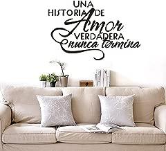 Bidsu Wall Decal Quote Words Lettering Decor Sticker Wall Vinyl Spanish Quote Wall Decal UNA histeria de Amor verdadera nunca termina Wall Sticker for Living Room Bedroom