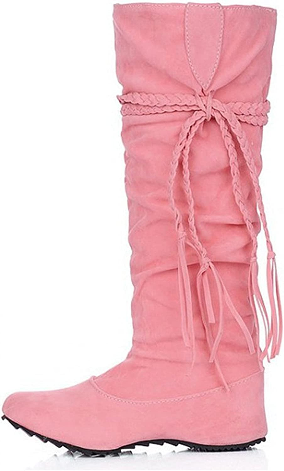 Henraly Women's Fashion Slouchy Fringes Heighten Knee High Boots