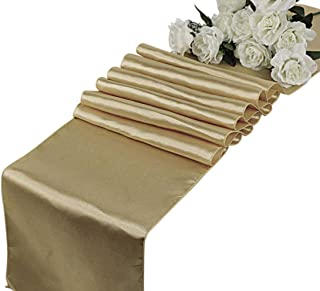 VDS - 12 PCS 12 x 108 inch Satin Table Runner for Wedding Banquet Décor Runners Charmeuse Silk Table Runner - Champagne Gold