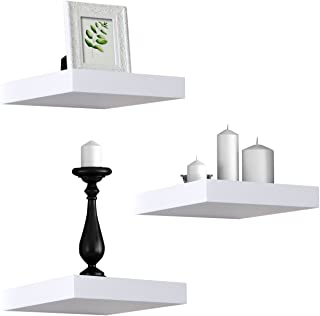 Sorbus Floating Shelves — Hanging Wall Shelves Decoration — Perfect Trophy Display, Photo Frames (White)