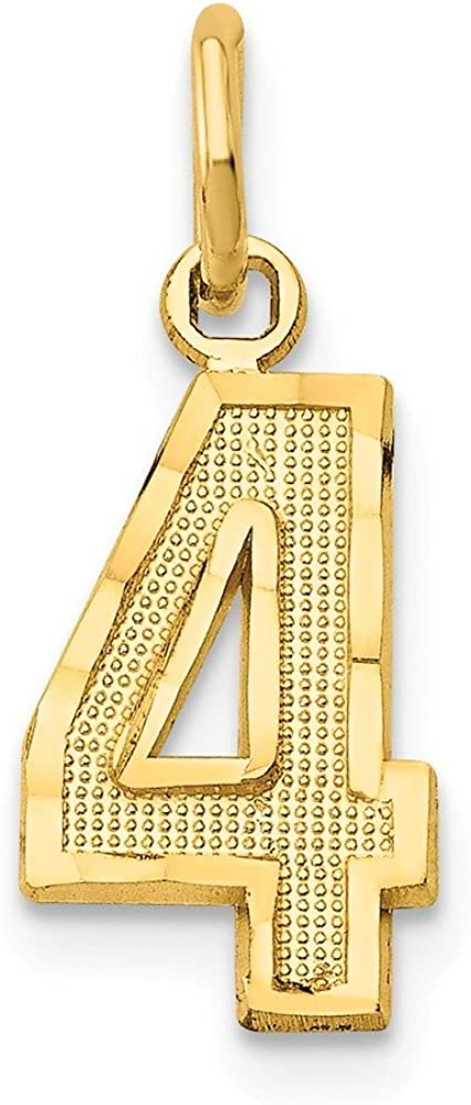 Solid 14k Yellow Gold Casted Small Diamond-Cut Number 4 Charm Pendant - 20mm x 7mm