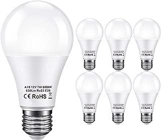 Bayshe 12V LED Light Bulb 60Watt Equivalen E26 7W 630Lm 12 Volt Low Voltage Lights AC/DC 11-18V A19-12volt Battery Grid Solar Panel RV Marine Boat Landscape Lighting- 6 Pack(6000K Daylight White)