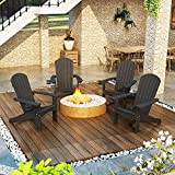 Adirondack Chair Set of 4, Black Lifetime Poly Adirondack Chairs with Cup Holder, 350LBS Modern Adirondack Chair Weather Resistant, Outdoor Patio Chair for Fire Pit, Patio, Law, Balcony, Backyard