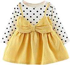 Baby Girls Dress Newborn Clothes for 0-24 Months Long Sleeve Dot Bowknot Party Princess Dress Outfits