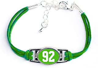 Number Charm Bracelet (00-99) Jersey Style in Team Colors (Kelly Green & White)