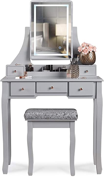 Carme Savannah Grey Dressing Table With Touch Mirror Led Light 5 Drawers Stool Set Vanity Dresser Bedroom Furniture Makeup Jewellery Storage Amazon Co Uk Home Kitchen