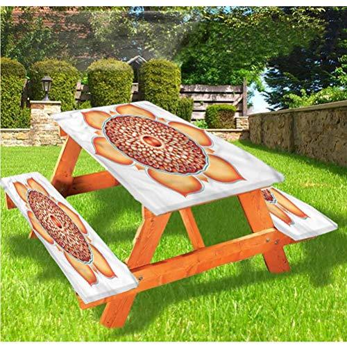 LEWIS FRANKLIN Cortina de ducha Lotus Deluxe Picnic Cubiertas de mesa, mantel, borde elástico espiritual Harmony, 70 x 72 pulgadas, juego de 3 piezas para mesa plegable
