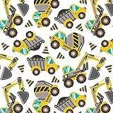 Pingianer Baufahrzeuge Bagger Grau Gelb Weiß, 150x160cm