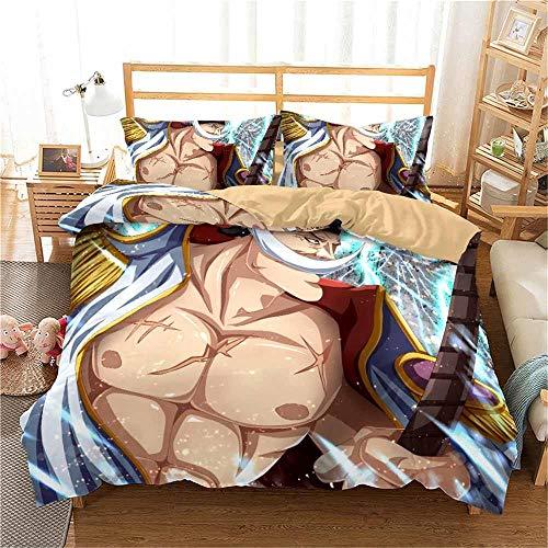 MGQSS Bedding Set 3D 4 Pieces Anime Cartoon Hero Muscle Character Modern Design Print Double Size Duvet/Quilt Cover Bedroom Decorative Bed Set Zipper Closure Easy Care(135 X 200 Cm)