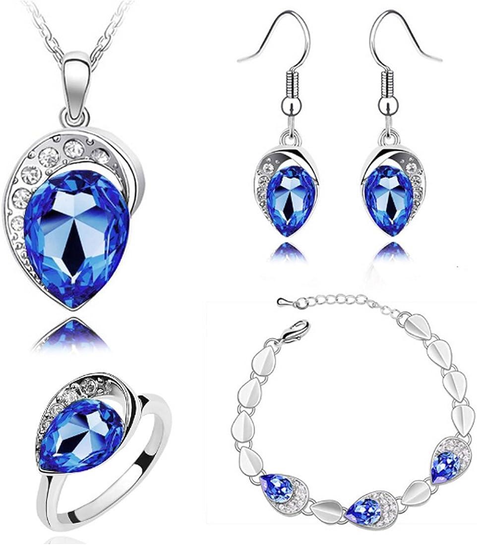 MAFMO Women Water Drop Jewelry Set Party Wedding Necklace Bracelet Earrings Ring