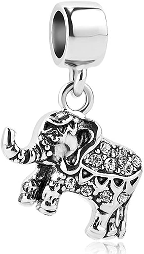 CharmSStory Elephant Charms Dangle Beads Charm for Bracelets