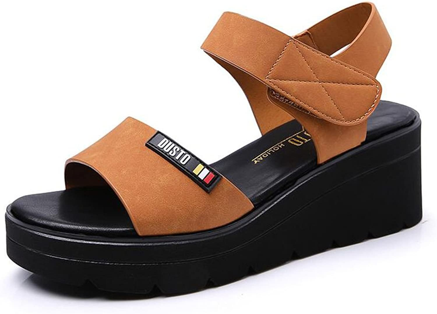 Jinsen Summer Casual High-Heeled Korean Version of The Platform shoes Thick-Soled Velcro shoes