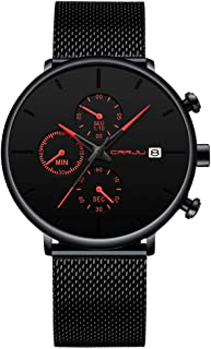Men's Fashion Analog Quartz Watch Simple Casual Dress with Black Mesh Steel Band Minimalist Wrist Watches Date