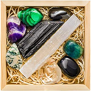 Premium Grade Crystals and Healing Stones for Protection EMF in Wooden Box– Black Tourmaline, Obsidian, Fluorite, Malachite, Hematite, Amethyst, Tree Agate, Quartz, Selenite