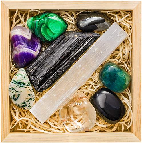 Crystalya Premium Grade Crystals and Healing Stones for Protection EMF in Wooden Box– Obsidian, Fluorite, Malachite, Hematite, Amethyst, Tree Agate, Quartz, Selenite, Tourmaline Gemstones + Info Guide