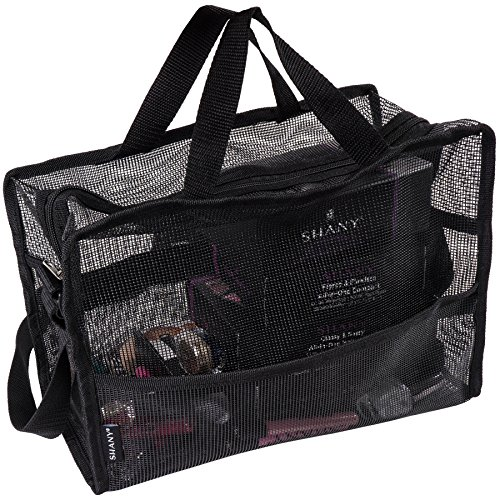 SHANY Collapsible Mesh Bag  Large See-Thru Travel Tote with Shoulder Straps  Water-Resistant with Zippered Pockets  Black