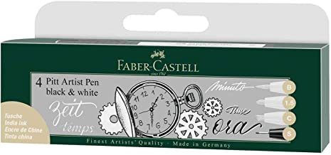 Faber-Castell Waterproof Pitt Artist Pens, Black and White – Pack of 4, (54-167151)
