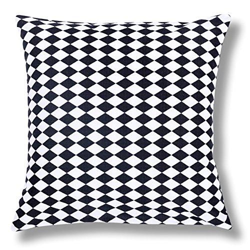 Amilian® Dekokissen Kissenbezug Kissen 40cm x 40cm Schachbrett Schwarz Weiß