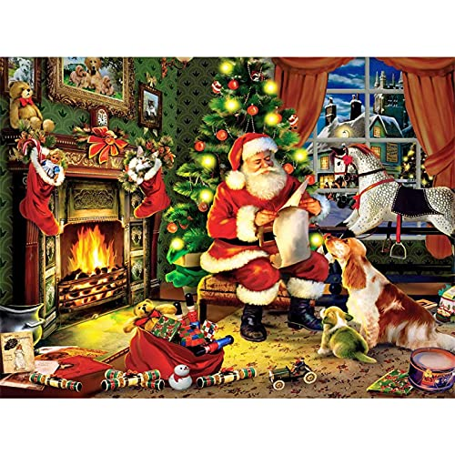 5D Large Christmas Diamond Art Painting Kits for Adults DIY Full Drill Santa Claus Gem Art Crafts Paint with Round Diamonds for Home Wall Decor(40x60cm)