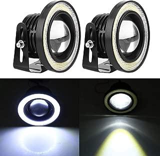 Qiilu 2pcs 2.5in LED Fog Light White COB Halo Angel Eye Rings Projector Universal 30W 3200LM DRL Driving Lamp Bulbs