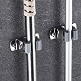 SPTwj Lot de 2 supports muraux pour balais et serpillières en acier inoxydable