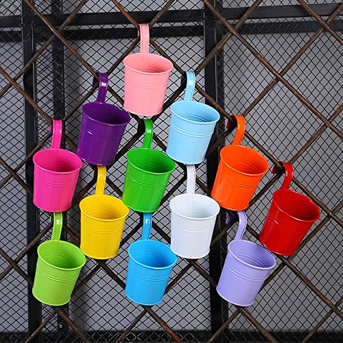 12 Pcs Metal Iron Hanging Flower Pots Bucket,Colourful Garden Plant Pot Vase Wall Planter with Detachable Handle Hook for Balcony Garden Fence Home Decor Ornaments