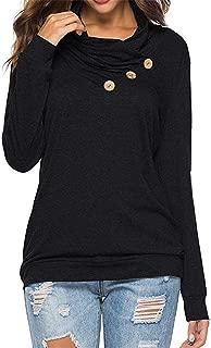 Sunhusing Ladies Roll Neck Solid Color Long Sleeve Irregular Button T-Shirt Cowl Neck Tunic Sweatshirt Tops