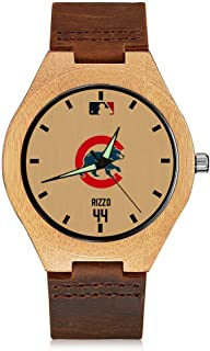 VF Chicago Cubs Fans Gift Baseball Engraved Wooden Watch Bamboo Wrist Watch with Leather Band for Men Women Girls Boys