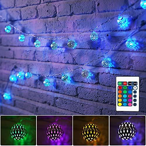4M Marokkanische LED Lichterkette USB, 40er LED 16 Farben Kugel Orientalisch Lichterkette für Zimmer, Farbwechsel Kugeln Stimmungsbeleuchtung mit Fernbedienung für Weihnachten,Ramadan, Balkon,Garten