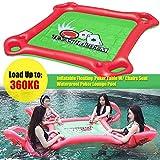 Mesas y sillas flotantes de póker Asiento Hinchable para 4 Personas Mesa Mahjong Piscina Flotante sobre Agua Reutilizable 90 kg de Carga Alta, Silla de Playa