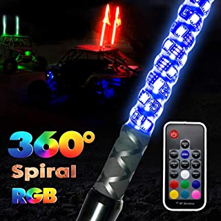 GTP 5ft Spiral LED Whip Lights 360° Twisted 20 Color RGB - 21 Modes Lighted Whips Antenna W/Flag for UTV ATV Polaris RZR Quad Off Road Jeep Can-am Maverick Yamaha Sand Dune Buggy 4X4