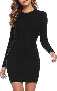 Aibrou Vestido Sueter de Punto Cuello Redondo para Mujer,Elegante Vestido de Suéter Manga Larga Elástico Delgado Clásico,S...
