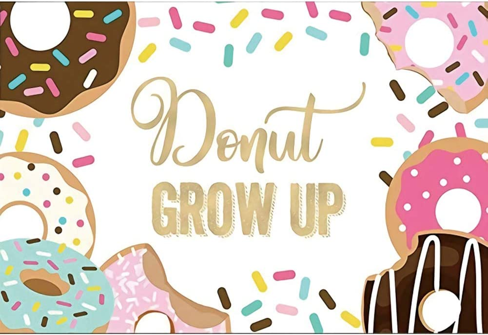 OFILA Kids Donut Grow Up Party Backdrop 6x6ft Dessert Photos Background Lollipops Candy Canes Girls Birthday Party Decoration Children Birthday Photo Booth Digital Studio Props