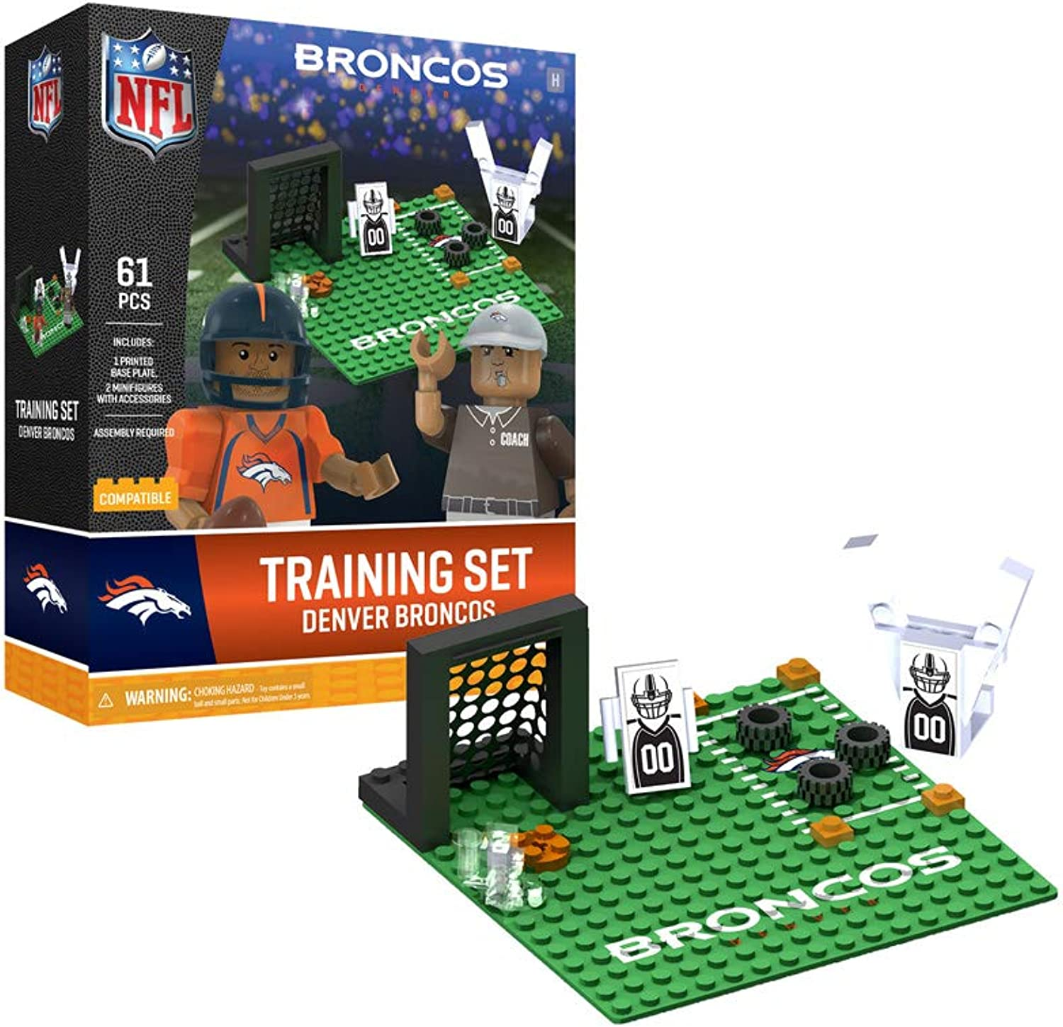 Oyo Sportstoys Denver Broncos Training Camp Set OYO Sports Toys with 2 Minifigure 106PCS PNFLDENPS1G4PS, orange bluee, One Size