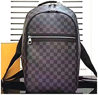 Large Size Graphite Backpack 10.2 x 19.3 x 6.7 inches Spacious Black Grey Checkered Canvas Material Men Bag with Leather Removable Straps Lots of Inside Space Stylish Comfort Luggage by JAN RYGLEWICZ