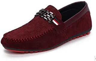 Meetloveyou Black Loafer Shoes Trendy Nubuck Leather Slip-On Loafers Vintage Style Men Driving Casual Blue Flat Shoes A1124